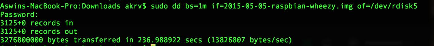 3 step procedure for installing raspian SD card image on Mac osX : CLI based